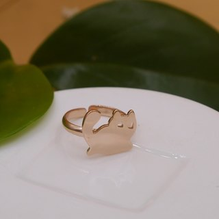 Handmade Little Cat Ring - Pink gold plated on brass ,Animal Jewelry