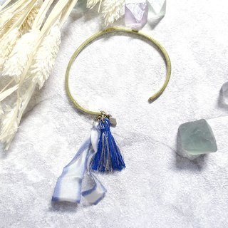 ♦ ViiArt ♦ ♦ betta blue ribbon tassels imported from Japan for sale on brass bracelet ·