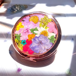 Pressed flowers mirror, Pressed Flower Compact Mirror, Colorful pocket mirror