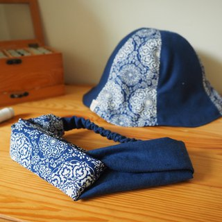 Handmade reversible blue hat and headband gift set