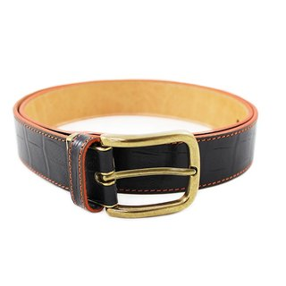 FULLGRAIN │ Italian leather planted male crocodile pattern belt black orange suture