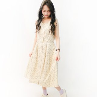 Japanese-made retro forest beige small floral sleeveless cotton vintage dress Japanese Vintage Dress