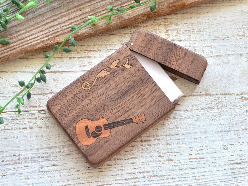 Wooden Business Card Holder Walnut Guitar