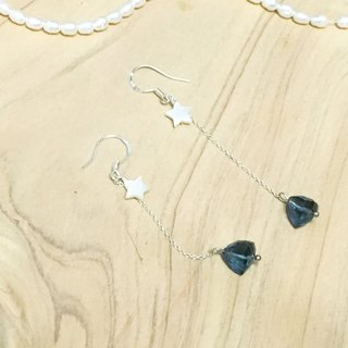 Tung Ling set a note decorated ~ 925 sterling silver {Bluestar} natural Swiss blue topaz cut face beads natural shells hand-made earrings