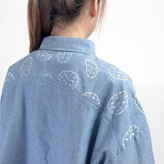【HEYSUN】Time Series /  Time Screen Printing Long Sleeve Shirt - blue