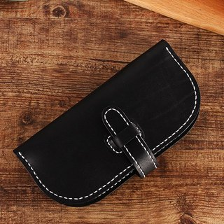 [Cut line] Italian vegetable tanned leather handmade leather wallet long clip 001 black