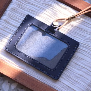 Exchange gifts | double-layer vegetable tanned leather identification card set - with original leather neck rope / can be added lettering | blue horizontal