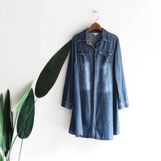 Kanagawa character brush color youth rock party antique cotton denim shirt coat dress shirt