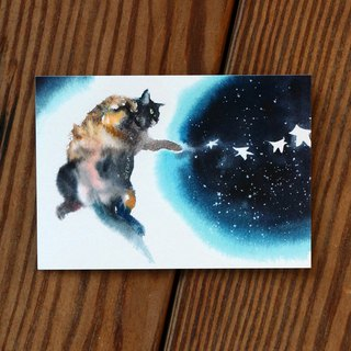 Watercolor Painted Hair Boy Series Postcard - Moon Leap Star
