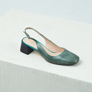 H THREE classic square head sling heel / green ash / thick heel / retro