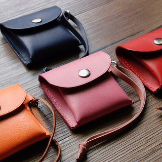 Obsessive-compulsive texture square handmade leather universal bag / coin purse / earphone storage bag