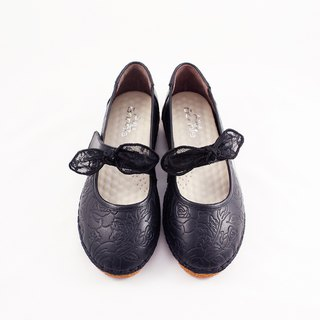 啾啾 bow doll shoes - black adult models