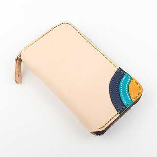 [Tangential school] ★ rainbow children ★ large-capacity leather hand-vintage zipper purse lady long folder clutch