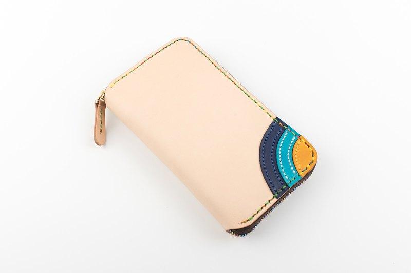 【切线派】彩虹小朋友 大容量 真皮手工拉鏈錢包 女士長夾 手拿包