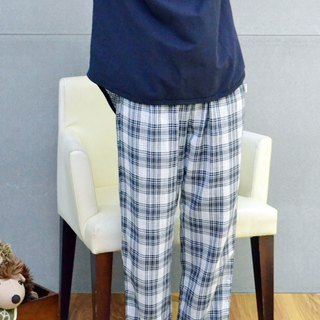 British style double-layer gauze home pants (blue)