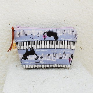 Piano black cat small storage bag _ purple