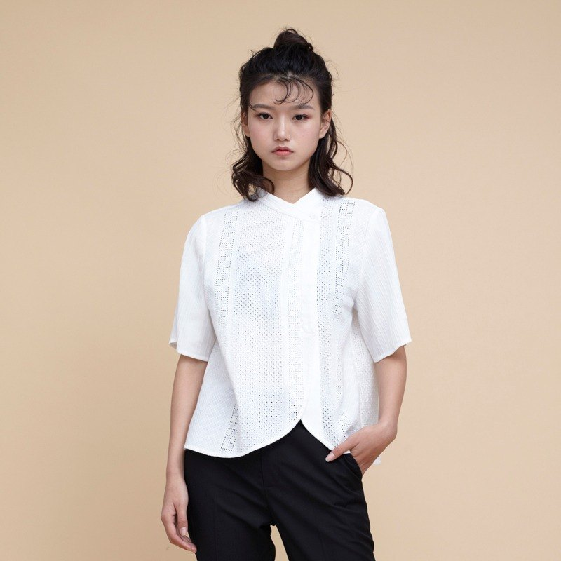 kitann ino asymmetric hollow embroidery cotton short-sleeved shirt collar