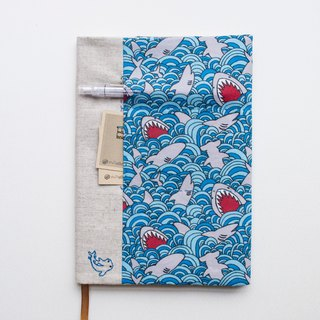 Shark Attack - adjustable A5 fabric bookcover