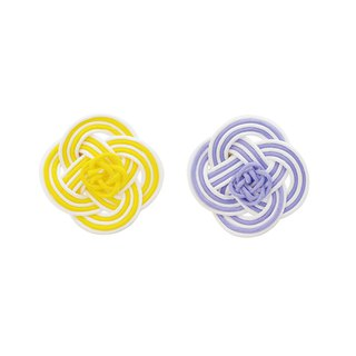 "Mizuhiki Pierced earrings ""Rape blossoms"" -Yellow×Purple-"