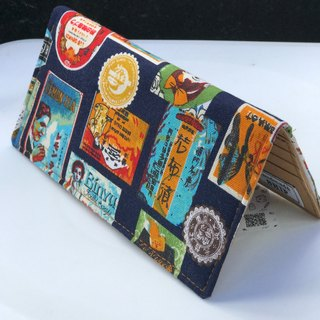 Washable Craft Paper . Fabric /Japan/Blue/Brand/ Long Wallet