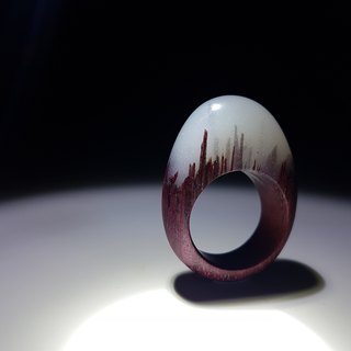 [hand-made] purple heart wood to be suet white egg shaped wood ring