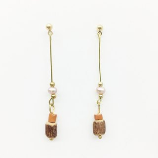 Old forest groceries l natural Shanghai pearl brass wood earrings ear hook l ear pin l ear clip