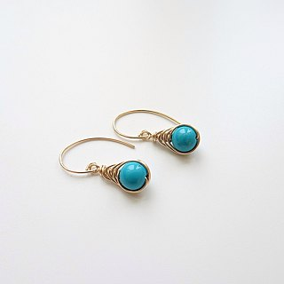 Turquoise Herringbone Wire Wrapped Charm 14K GF Dangle Earrings
