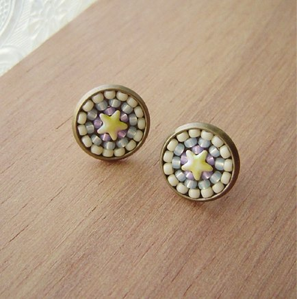 Deco tiles Earrings little stars cream-yellow mosaic beads sweet rainbow