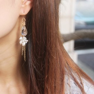 缳.around. Pear Crystal Natural Pearl 14KGF Earrings