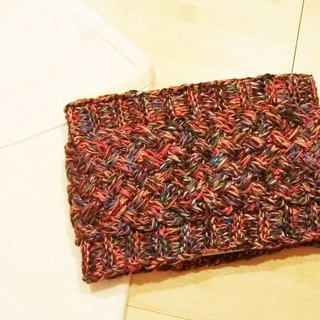 Lan hand-made knit headband (brown orange)