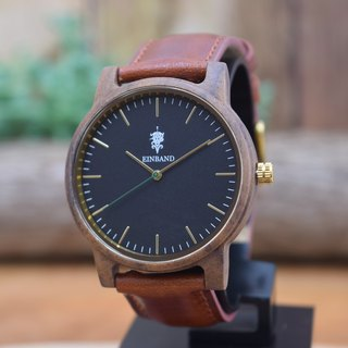 EINBAND Glanz BLACK 40mm Wooden Watch Brown Leather Belt