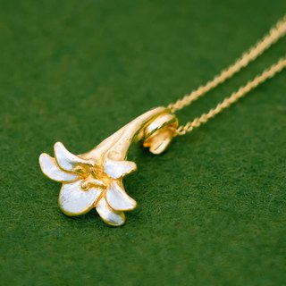 Lily necklace - Japanese - pendant head & chain - Lily flower