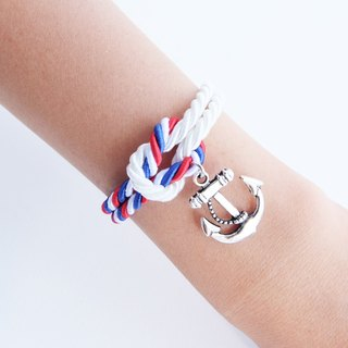 White/Tri color knot rope bracelet with anchor charm