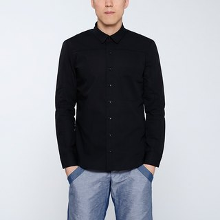 CA Merrill Shirt Qiangnian splicing long-sleeved men's shirts - black