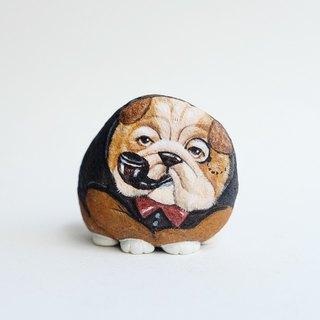 Bulldog stone painting.
