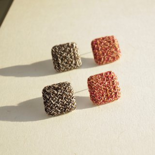 ITS-268 【Interwoven Series · Square Dark Earrings】 Braided Hair Black Red Ear Earplugs Valentine's Day Gifts New Year's Gifts