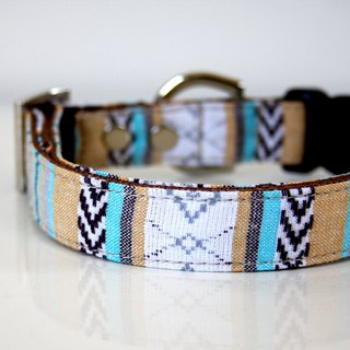 BOHO woven guatemalan Dog Collar - beige, turquoise blue - Silver