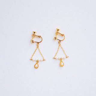Autumn - retro pearl water drops decorated earrings