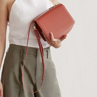 "''70s modern"" leather shoulder bag - Coral pink"