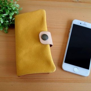 [Custom-made classic yellow] pig leather soft Sumahokesu [various models] leather cover [iphone6, xperia, galaxy] yellow