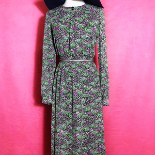 Flower long-sleeved vintage dress / brought back to VINTAGE abroad