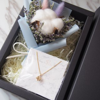 [Warm bouquet gift set]: Mini dried bouquet (pink blue) + [Six-pointed star necklace]