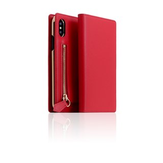 SLG Design iPhone Xs / X D5 ZIPPER Zipper Case Side Leather Leather Case - Red