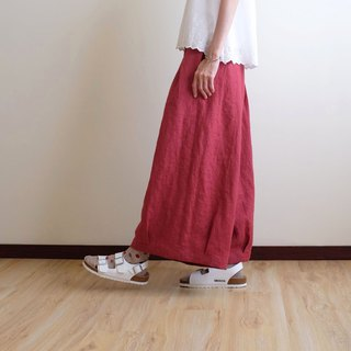 Everyday Handmade Dress Playful Girl Vintage Cherry Red Pleated Wide Pants Flax