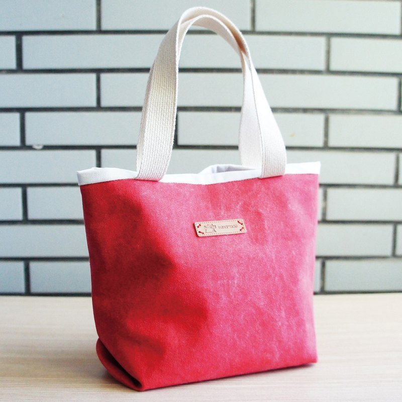 Lovely Stone wash tannin denim simple lunch out of the bag, lunch bags, stone wash canvas red