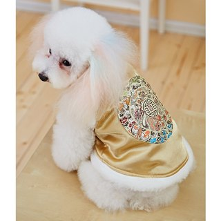 Pet clothes cheongsam modeling Chinese style (gold)