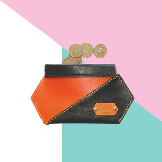 Sonniewing's Playful Hexagon Leather Squeeze Coin Pouch