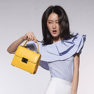 WOMEN MINIMAL STYLE ITALIAN LEATHER HAND BAG-YELLOW