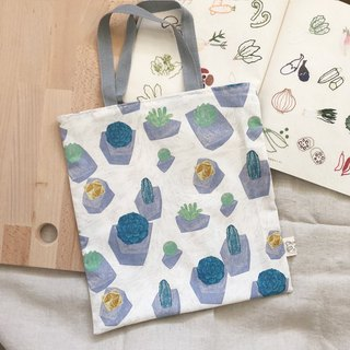 Simple tote bag/shopping bag  -  White potted plant