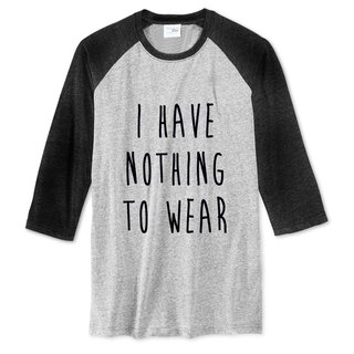 I HAVE NOTHING TO WEAR 【Spot】 Neutral Sleeve T-Shirt Gray Black No Clothes to Wear Wen Qing Art Design Trendy Text Fashion